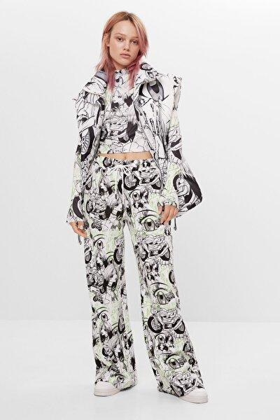Kadın Beyaz Billie Eilish x Bershka geniş paça pantolon 05113851