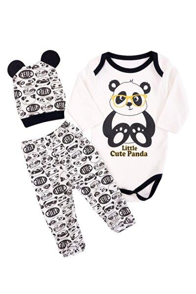 Erkek Bebek Siyah Yenidoğan Gözlüklü Pandalı Takım