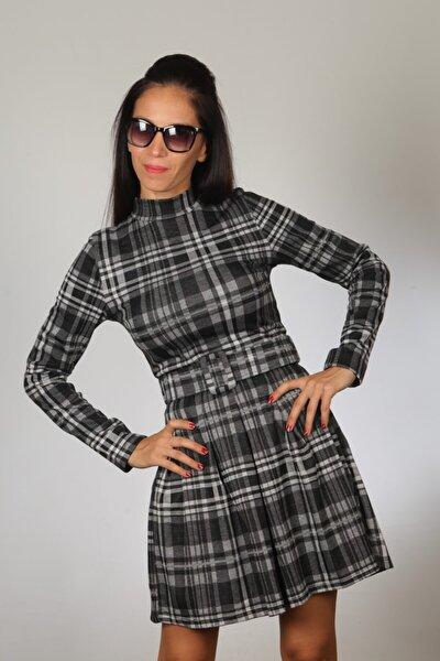 Kadın Siyah Kareli Spor Kemerli Elbise