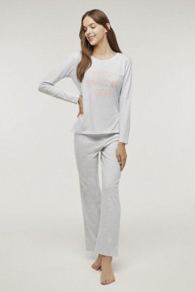 Açık Gri Melanj Base Frıday Pijama Takımı