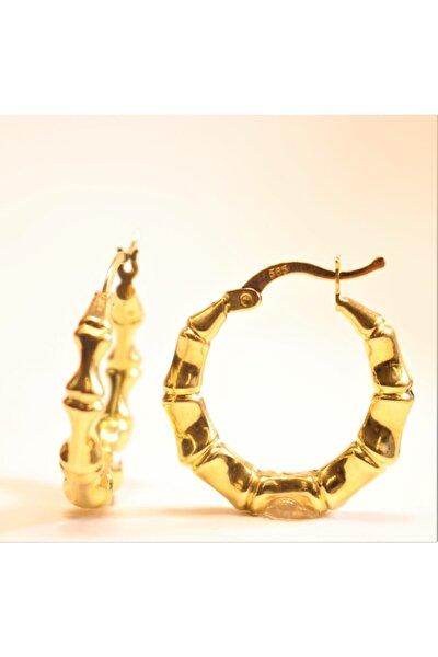 Kadın Sarı Altın Bombeli Küpe
