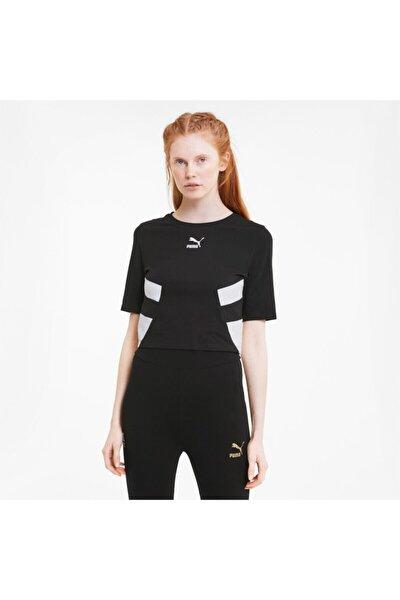 Kadın Siyah Retro Crop Top  T-Shirt (597750-01)
