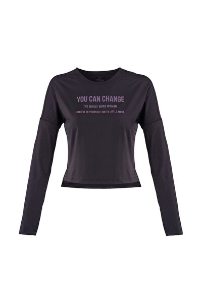 MARTA SLOGAN TOP Siyah Kadın T-Shirt 100559798