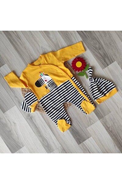 Bebek Sarı Zebra 3'lü Tulum Set