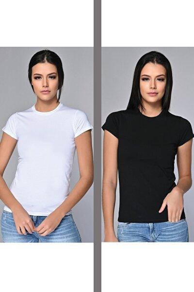 Kadın Bisiklet Yaka Basic T-shirt 2'li Asorti Paket