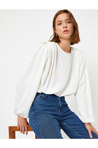 Kadın Beyaz Bisiklet Yaka Uzun Kollu Vatkalı Bluz