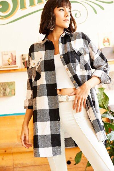 Kadın Siyah Çift Cepli Yanı Yırtmaçlı Oversize Oduncu Gömlek GML-19000719
