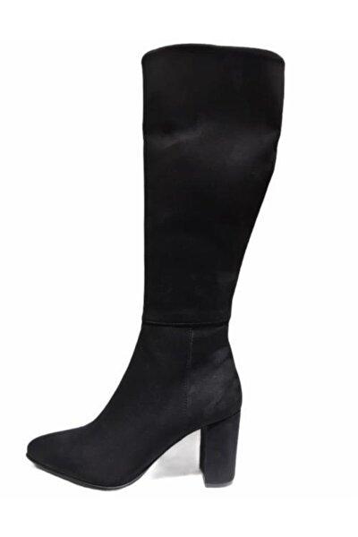 Kadın Siyah Nubuk Çizme