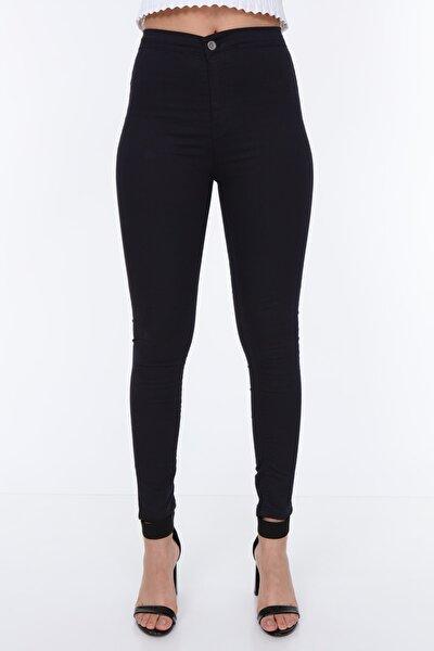Kadın Koyu Lacivert Klasik Yüksek Bel Kabardin Pantolon