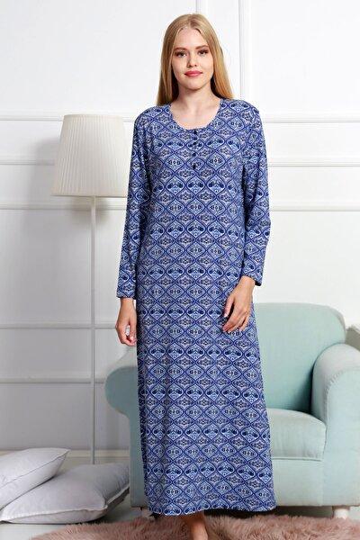 Kadın Lacivert Uzun Kol Normal Beden  Ev Elbisesi