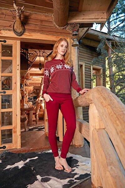 Kadın Bordo Uzun Kol Pijama Takımı 671
