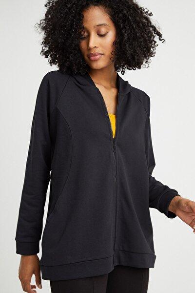 Kadın Siyah Fermuarlı Sweatshırt