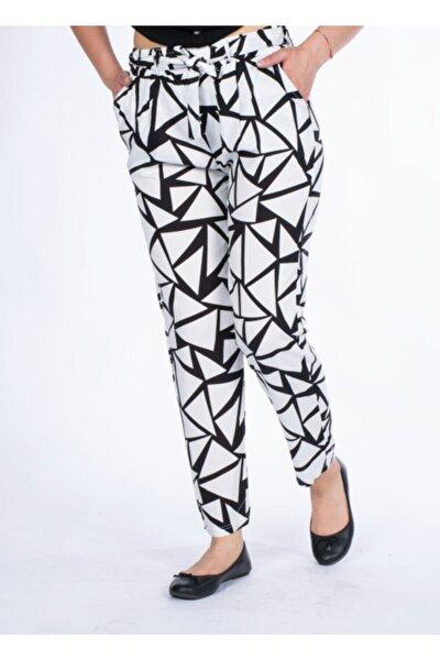 Kadın Beyaz Desenli Pantolon