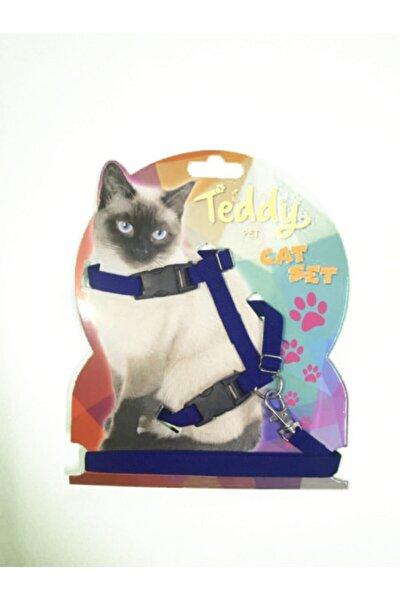 Lacivert Teddy Kediler Için Gezdirmeli Göğüs Tasması