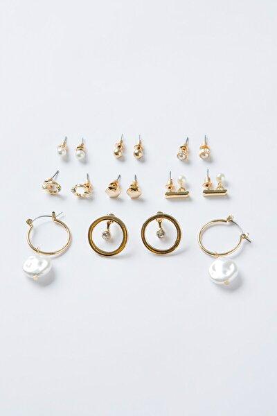 Gold Pearl Küpe Set