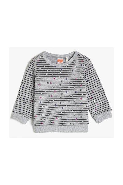 Gri Desenli Kız Bebek Sweatshirt
