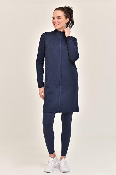 Lacivert  Kadın Uzun Ceket GS-1516