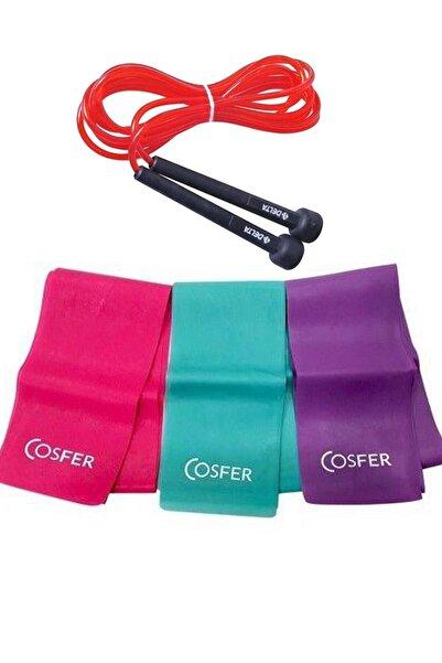 3 Lü Pilates Bandı 3 Farklı Dirençte Plates Lastiği 120x7.5 Cm + Atlama Ipi Kondisyon