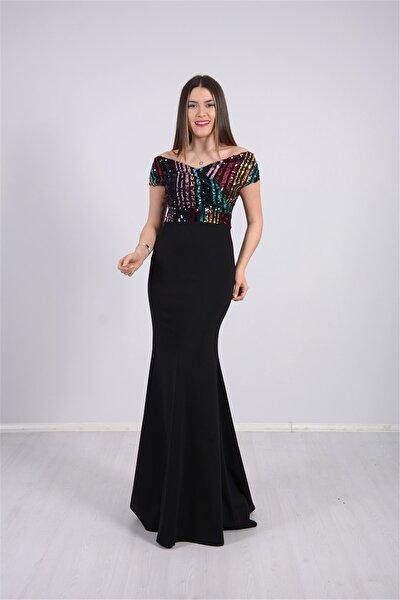 Üstü Payet Altı Krep Balık Abiye Elbise - Siyah
