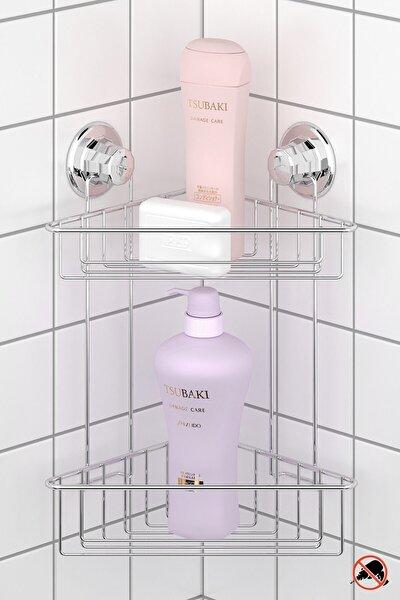 Vakumlu İki Katlı Banyo Duş Rafı Krom Dm257