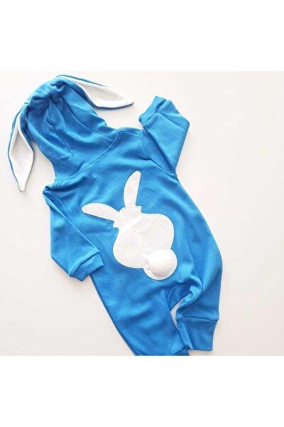 Erkek Bebek Mavi Tavşanlı Tavşan Kulaklı Tulum