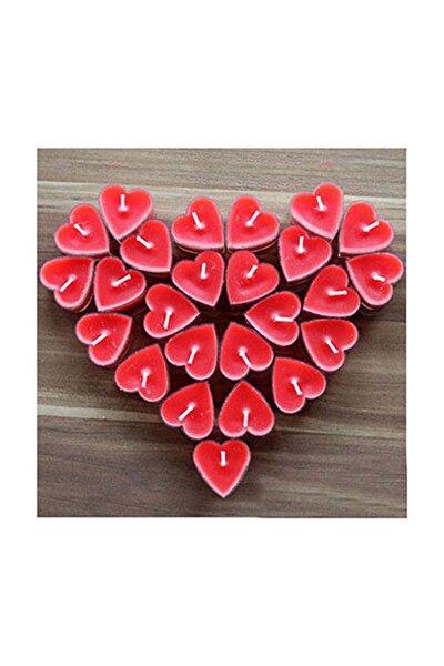 Kırmızı Kalp Tealight Mum 50li