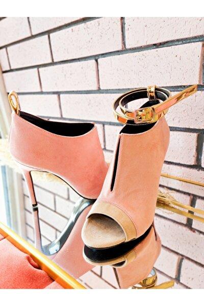 Kadın Pembe Süet Topuklu Ayakkabı