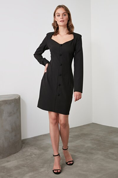 Siyah Yaka Detaylı Ceket Elbise TWOAW21EL1916