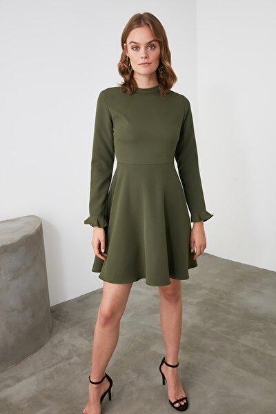 Haki Volanlı Elbise TWOAW21EL0792