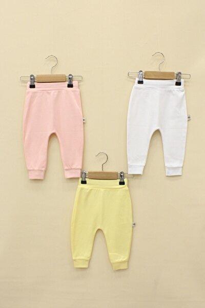 Kız Bebek Pembe Beyaz Sarı 3'Lü Pantolon Set