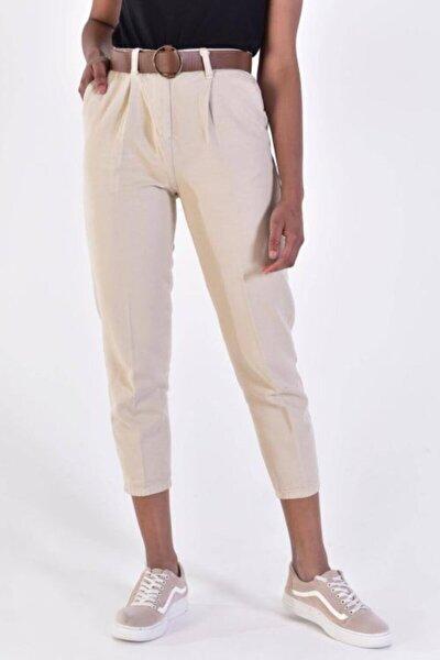 Kadın Bej Arka Bel Lastikli Deri Kemer Pantolon