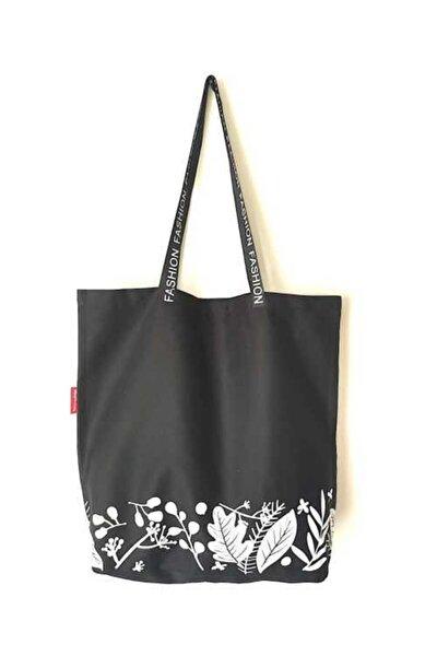 Unisex Siyah Baskılı Bez Çanta