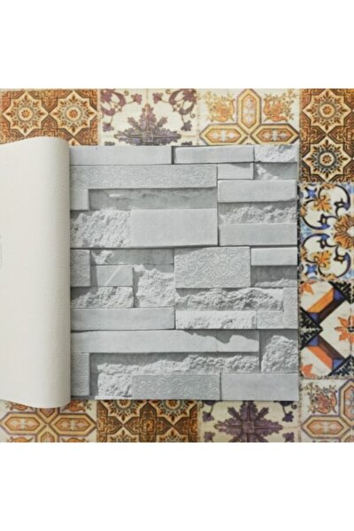 3 Boyutlu 13151 Taş Tuğla Desenli Duvar Kağıdı (5m²) - Tutkal Hediyeli