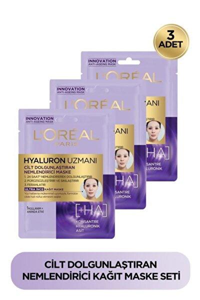 3'lü Hyaluron Uzmanı Cilt Dolgunlaştıran Nemlendirici Kağıt Yüz Maskesi - Hyaluronik Asit Seti