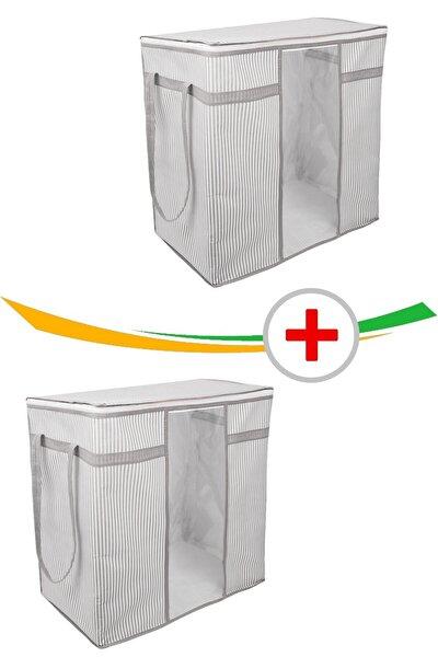 2 Adet Pencereli Saklama Kıyafet Çamaşır Hurcu Çizgili Model 45 X 30 X 50 Cm.