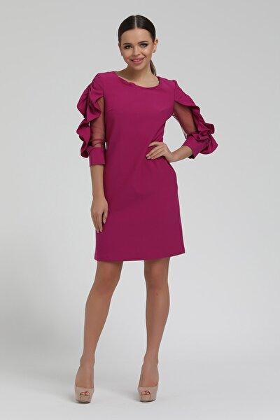 Kadın Mor Kolları Büzgülü Kısa Elbise 19k108k10003
