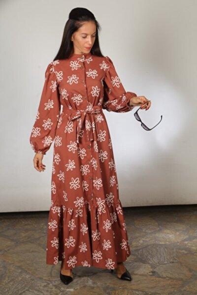 Kadın Turuncu Çiçek Desenli Uzun Elbise