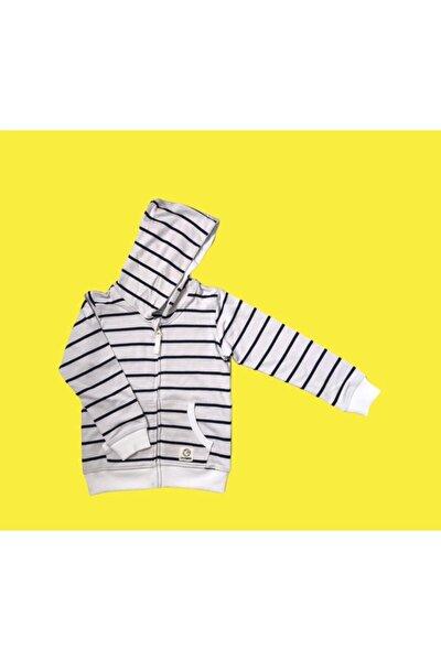 Unısex Çocuk Beyaz Fermuarlı Çizgili Sweatshirt