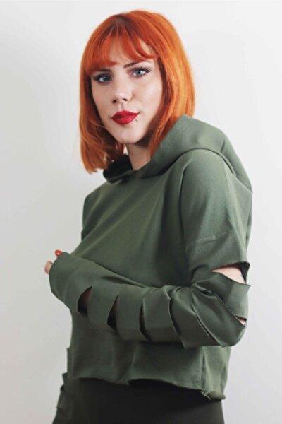 Kadın Yeşil Kapüşonlu Sweatshirt