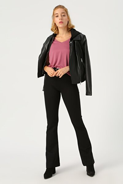 Kadın Siyah Siyah İspanyol Paça Örme Pantolon 10209858 VMKAMMA