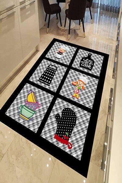 Siyah Gri Kaymaz Tabanlı Yıkanabilir Mutfak Halısı Dot-ht822