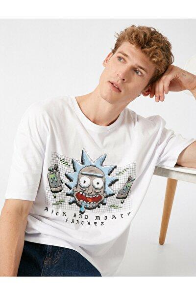 Erkek Beyaz  Rick And Morty Lisansli Bisiklet Yaka Kisa Kollu Tshirt