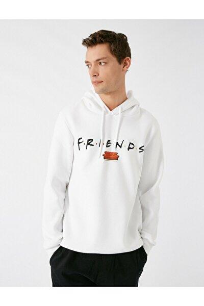 Erkek Beyaz Friends Lisansli Kapüsonlu Uzun Kollu Sweatshirt