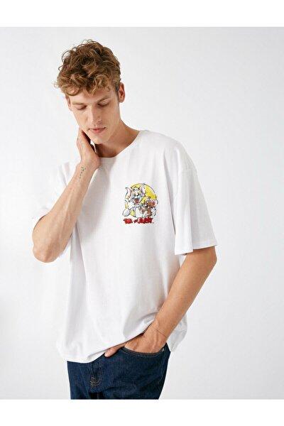 Erkek Beyaz Pamuk Bisiklet Yaka Kısa Kollu Tom ve Jerry Lisanslı T-shirt
