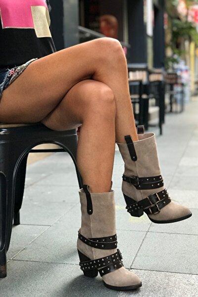 Kadın Vizon Hakiki Süet Kemerli Topuklu Bot