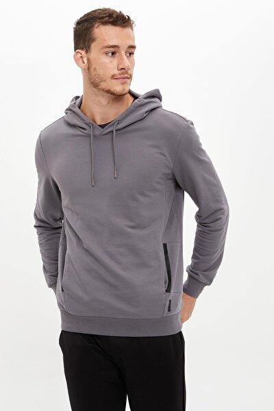 Erkek Grey Kapüşonlu Loose Fit Sporcu Sweatshirt S0631AZ20AU
