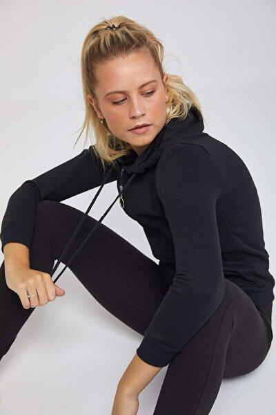Kadın Siyah Pamuklu Fermuarlı Kapşonlu Sweatshirt