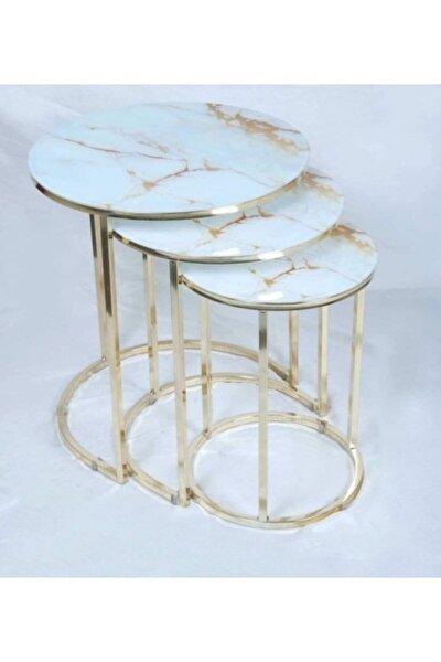Beyaz Gold Mermer Desen 3'lü Zigon Sehpa