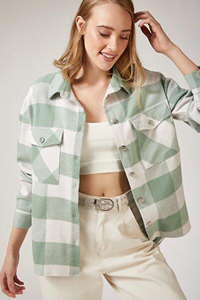 Kadın Nil Yeşili Kareli Yünlü Ceket Gömlek DD00744
