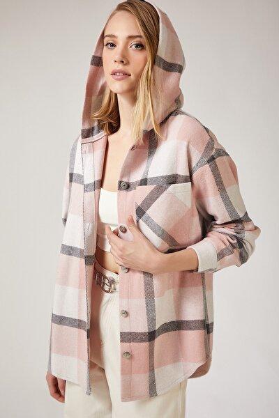 Kadın Pembe Oduncu Kapüşonlu Ceket Gömlek DD00745